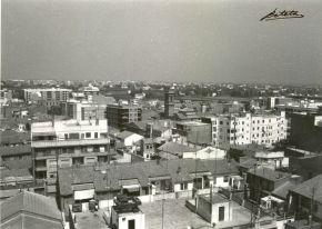 Vista aérea de Benimaclet. Foto donada a la A.VV por el fotógrafo Beteta. Mediados de los 70